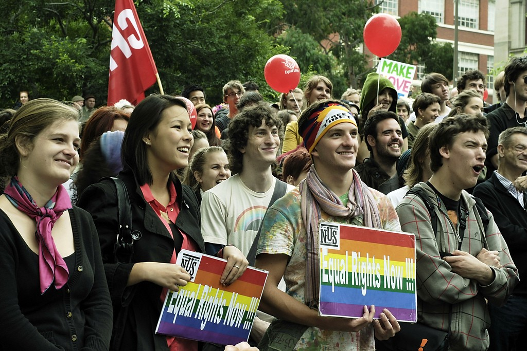 Protesters at the Equal Marriage Rights rally in Melbourne, Mar 26 2011. Photo Credit: azhrjl via Compfight cc